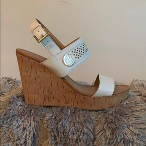 White Tommy Hilfiger Strappy Wedges
